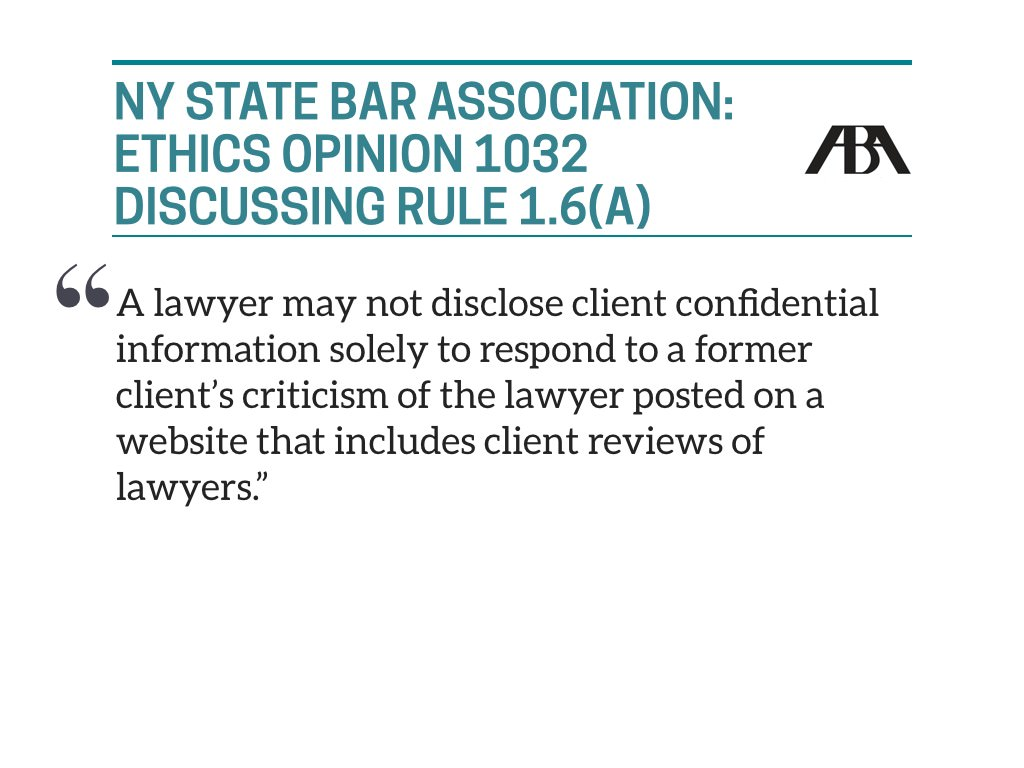 NY Bar Association and responding to online reviews