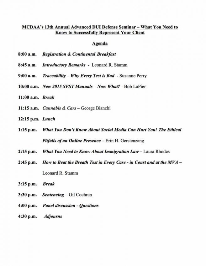 MCDAA 2016 Agenda